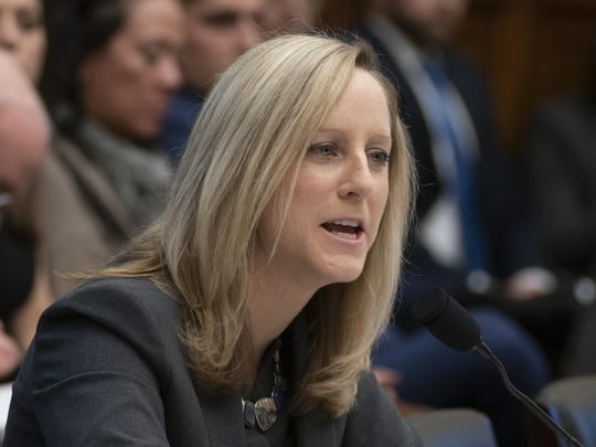Kathy Kraninger, director of the Consumer Financial Protection Bureau, takes questions from the House Financial Services Committee's biannual review of the CFPB, on Capitol Hill in Washington, Thursday, March 7, 2019.