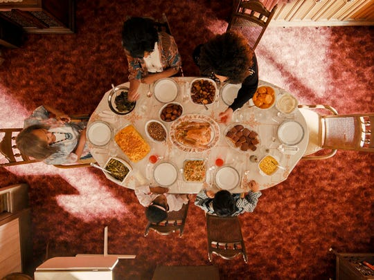 An aerial view of 'Thanksgiving' dinner in Season 2 of Netflix's 'Master of None.'
