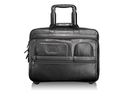 Tumi's Alpha 2 Deluxe Wheeled Leather Briefcase with laptop case.