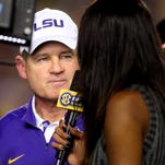 LSU is interviewed at the end of the first half Saturday night against Texas A&M.