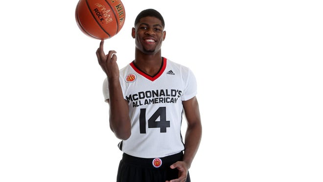 Mar 28, 2015; Chicago, IL, USA; McDonalds High School All American athlete Malik Newman (14) poses for pictures during portrait day at the Westin Hotel. Mandatory Credit: Brian Spurlock-USA TODAY Sports