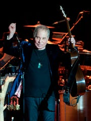 Singer Paul Simon performs on stage at the Bilbao Exhibition