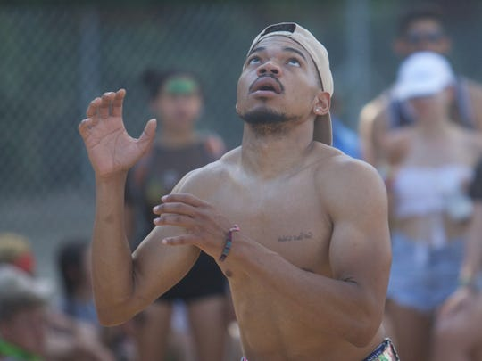 Chance the Rapper plays Volleyball in the Oasis Area