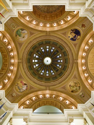 The ceiling of the rotunda in the South Dakota State Capitol on Jan. 9, 2018 in Pierre, S.D.