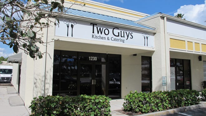 Two Guys Kitchen & Catering is in River Reach Plaza off Airport-Pulling Road in East Naples. The new local restaurant is across Horseshoe Drive North from the RaceTrac station.