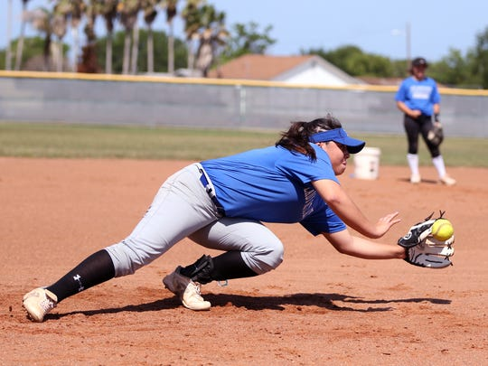 Ingleside softball player Meagan Smith runs through drills  in practice on Tuesday, May 3, 2017.