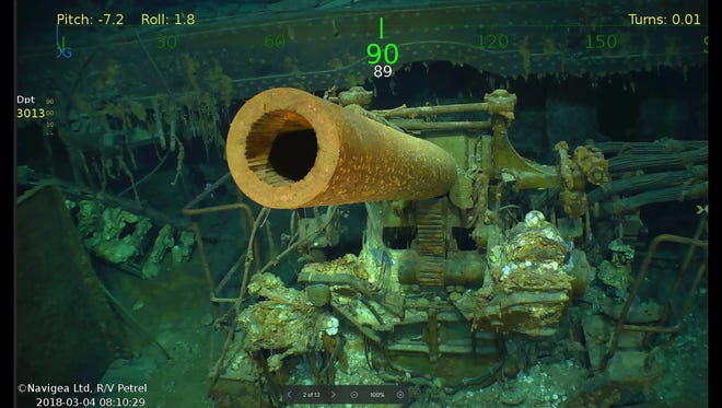 Wreckage from the USS Lexington, a U.S. aircraft carrier which sank during World War II, that has been found in the Coral Sea by a search team led by Microsoft co-founder Paul Allen.