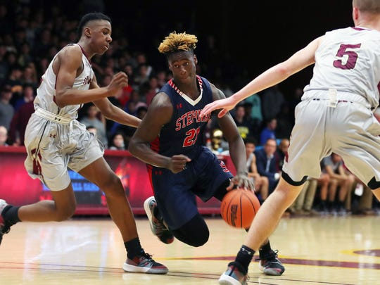 Stepinac's Adrian (AJ) Griffin Jr. drives to the basket against Iona during basketball action at Iona College in New Rochelle Feb. 2, 2019. Stepinac won the game 65-59. (Photo: Frank Becerra Jr./The Journal News)