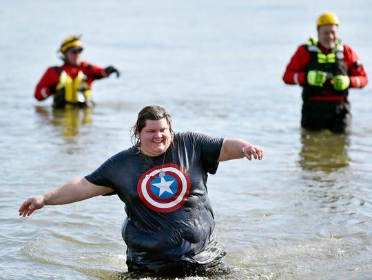Rhoda Mullen of Jacobus wades in the Susquehanna River