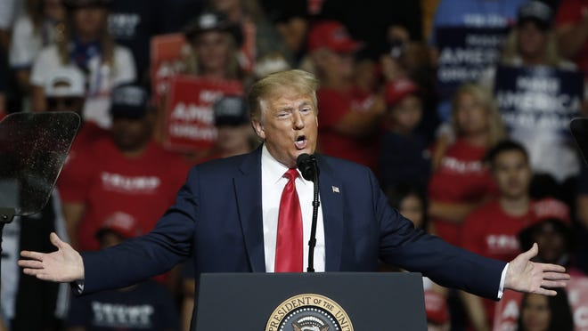 In this June 20, 2020, file photo, President Donald Trump speaks during a campaign rally in Tulsa, Okla. TrumpþÄôs reelection bid will take baby steps back out onto the road in the coming days after a multi-week hiatus that came amid a massive surge in coronavirus cases across much of the nation and after the debacle of his planned comeback in Oklahoma.