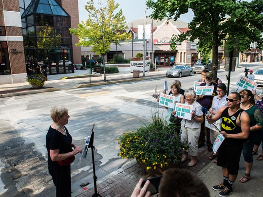 Several rallies and protests have been staged in Lebanon County in recent years, although none have turned violent or led to arrests. In this photo, Lois Herr, Lebanon County Democrat Committee chairwoman, speaks at a rally hosted by MoveOn.org and the Lebanon-based Progressive Social Network across the street from HACC Lebanon Campus to protest Congressman Ryan Costello before a town hall meeting on Thursday, August 17, 2017.