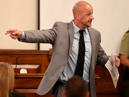 Assistant District Attorney Paul Hagerman points to Zach Adams as he gives his closing arguments on behalf of the state during day 10 of the Holly Bobo murder trial Thursday, Sept. 21, 2017, in Savannah, Tenn.