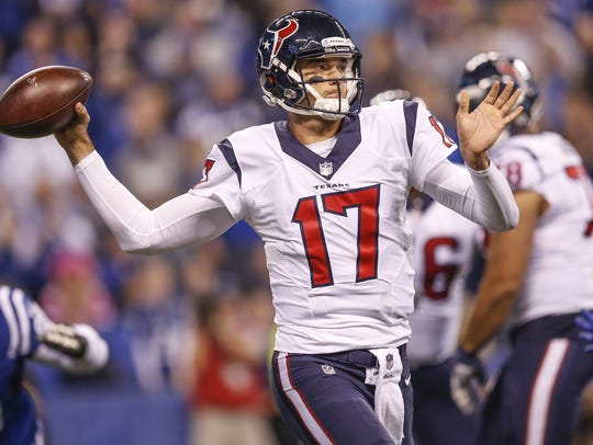 Houston Texans quarterback Brock Osweiler (17) delivers