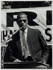 """Malcolm X Speaks at a Rally in Harlem (at 115th St. & Lenox Ave.), New York, September 7, 1963,"" 1963, Adger Cowans, gelatin silver print. Detroit Institute of Arts. From the exhibit titled, ""Art of Rebellion: Black Art of the Civil Rights Movement"" at the DIA July 23 - Oct. 22, 2017."