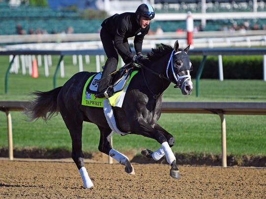 Belmont Stakes hopeful Tapwrit shown training for the Kentucky Derby.