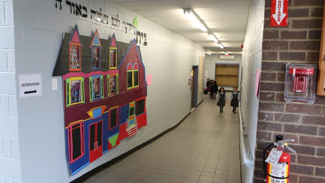 A hallway in the classroom building at the Bais Yaakov Elementary School of Rockland County, a private girls school on the old Edwin Gould Property in Chestnut Ridge, Jan. 19, 2017.