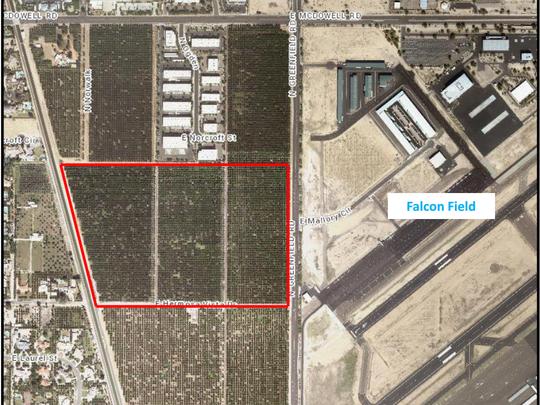 The proposed development area for the Falcon Tech Center.