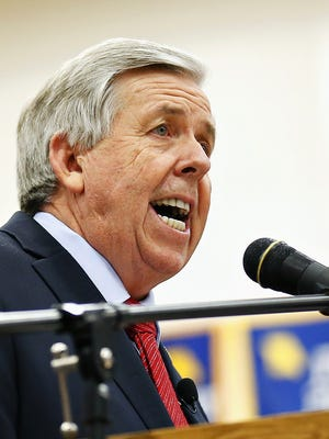 Mike Parson speaks at a campaign event in Bolivar in April 2015.