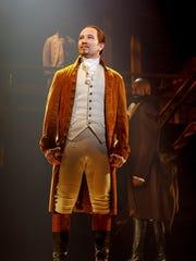 "Joseph Morales plays Alexander Hamilton in ""Hamilton,"" which runs through Dec. 16 at Greenville's Peace Center."