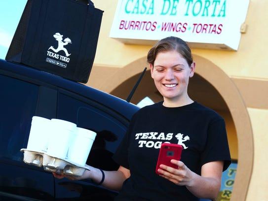 Kelly Layne Dyck,  a food deliverer for Texas ToGo,
