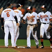 Sep 2, 2014; Baltimore, MD, USA; Baltimore Orioles teammates Chris Davis (19), Jonathan Schoop (6), Adam Jones (10) and Alejandro De Aza (12) celebrate after a game against the Cincinnati Reds at Oriole Park at Camden Yards. The Orioles defeated the Reds 5-4. Mandatory Credit: Joy R. Absalon-USA TODAY Sports