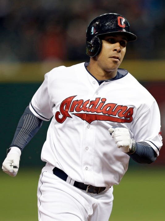 Cleveland Indians' Michael Brantley runs the bases after hitting a solo home run off Chicago White Sox starting pitcher John Danks in the fifth inning of a baseball game on Friday, May 2, 2014, in Cleveland. (AP Photo/Tony Dejak)