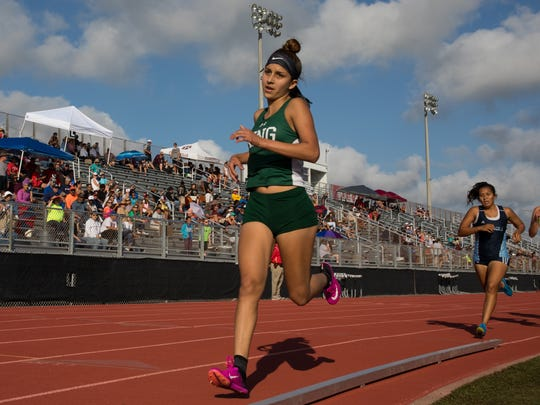 King freshman Ciara Martinez runs in the girls 1,600-meter run during the 29-5A/30-5A area meet at Cabaniss Multipurpose Complex on Thursday April 20, 2017.