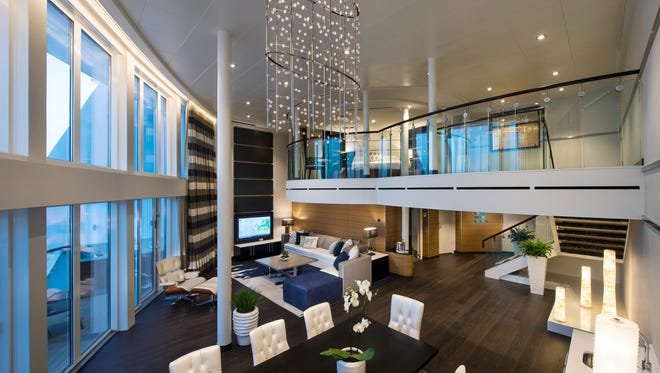 The Royal Loft suite on Royal Caribbean's Anthem of the Seas spans two decks and measures more than 1,600 square feet.