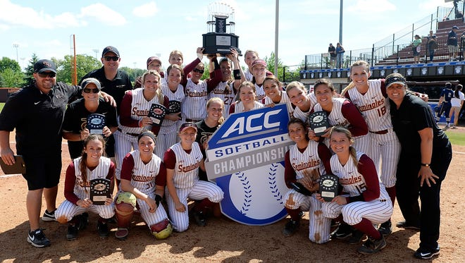 Florida State poses with their ACC Softball Championship trophy in Blacksburg, Va., May 9, 2015.