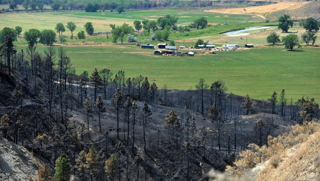 Burned hill sides above the Musselshell River and the Browning Ranch in the aftermath of the Lodgepole Complex Fire.