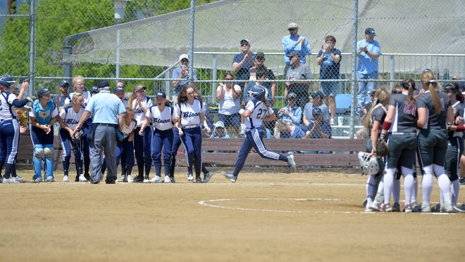 Morgan Sunchild belted five homers last year, including this one against Helena High at the Class AA state tournament in Helena.