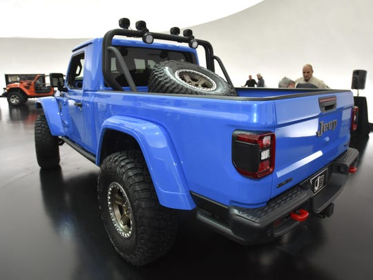 This is the rear of the Jeep J6 concept in Metallic Brilliant Blue.