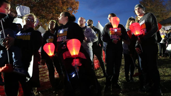 """People gather with their lanterns as the Leukemia and Lymphoma Society held their fundraising """"Light the Night"""" walk at Kingsland Point Park in Sleepy Hollow, Nov. 5, 2016."""
