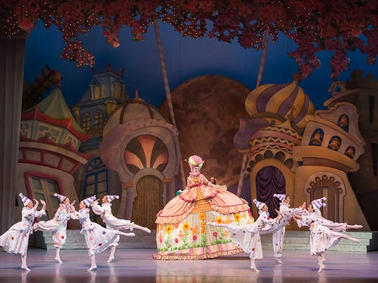 "Madame Bonbonniere and her Bon Bons in Nashville Ballet's 10th anniversary production of ""Nashville's Nutcracker."""