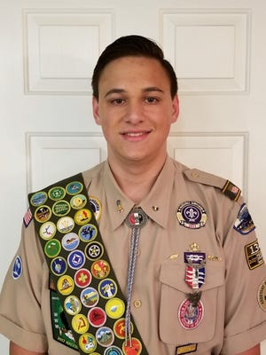 Eagle scout Jaxson Bonsall and his merit badges