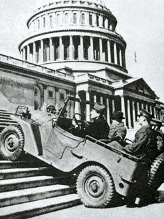A Jeep proves its mettle by climbing the Capitol steps.