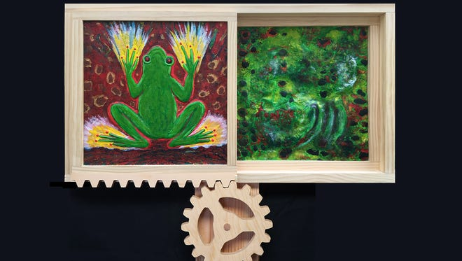 Bill Gorcica's Frog Triptych uses painted wood relief with moving panels.