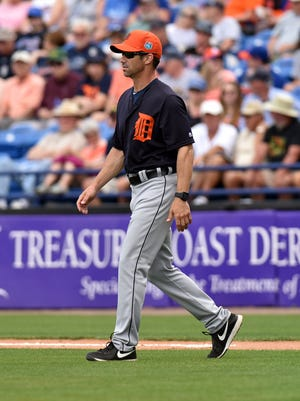 Mar 7, 2016; Port St. Lucie, FL, USA; Detroit Tigers manager Brad Ausmus (7) heads towards the pitchers mound during a spring training game against the New York Mets at Tradition Field.