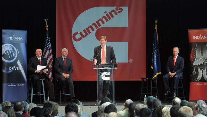 Tom Linebarger, then Cummins' president and chief operating officer, is shown in 2011 announcing a major expansion of the Columbus, Ind.-based diesel engine maker. Cummins, which ranked 211th with a value of $2.7 billion, was the highest ranking of five Indiana companies on Brand Finance's list of the top 500 U.S. corporate brands.