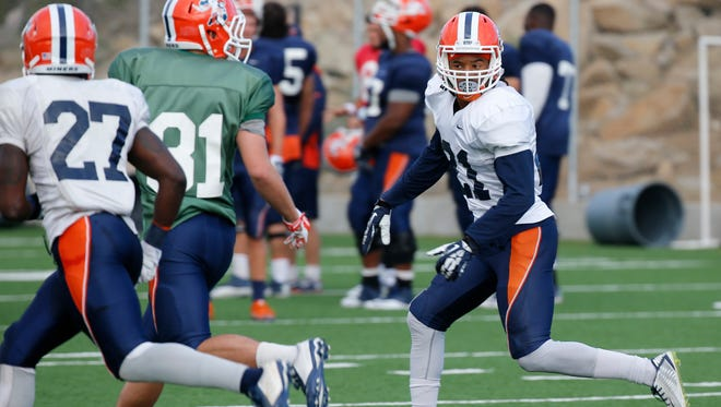 UTEP senior defensive back Dashone Smith applies the defensive pressure during practice Wednesday morning at Glory Field. Smith and hte Miners will take on Houston Bpatist Saturday night in the Sun Bowl.