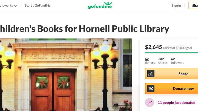 A campaign to raise $3000 for the Hornell Public Library is approaching its goal of providing books to the newly renovated library.
