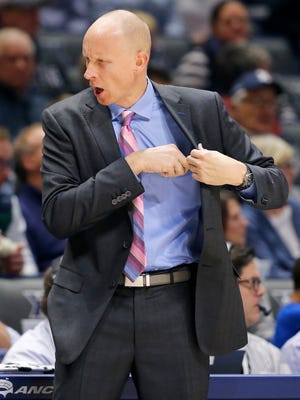 Xavier Musketeers head coach Chris Mack shouts down his bench in the second half of the NCAA basketball game between the Xavier Musketeers and the East Tennessee State Buccaneers at the Cintas Center in Cincinnati on Saturday, Dec. 16, 2017. The Musketeers fought back from a deep deficit in the second half to win 68-66.