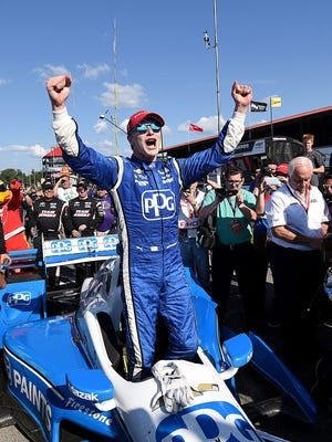 Josef Newgarden celebrates last year after winning the Honda Indy 200 at the Mid-Ohio Sports Car Course.
