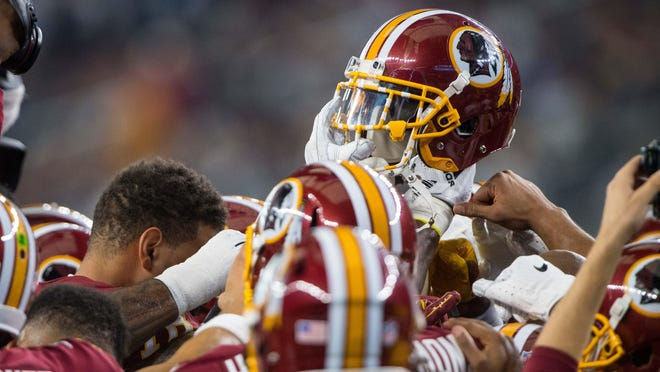 A view of a Washington Redskins helmet before the game between the Dallas Cowboys and Washington Redskins at AT&T Stadium.