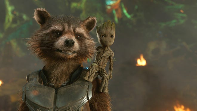 "Rocket (left, voiced by Bradley Cooper) and Groot (voiced by Vin Diesel) are together again in ""Guardians of the Galaxy Vol. 2."""