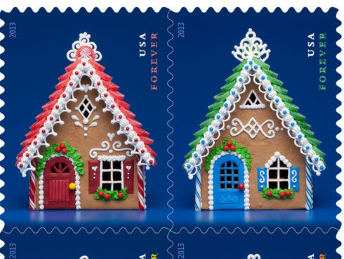 Gingerbread Houses Forever Stamps.