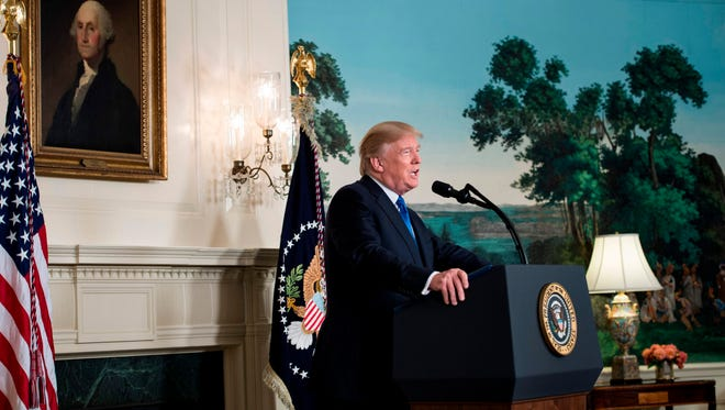 President Trump speaks about the Iran deal from the Diplomatic Reception room of the White House on Oct. 13, 2017.