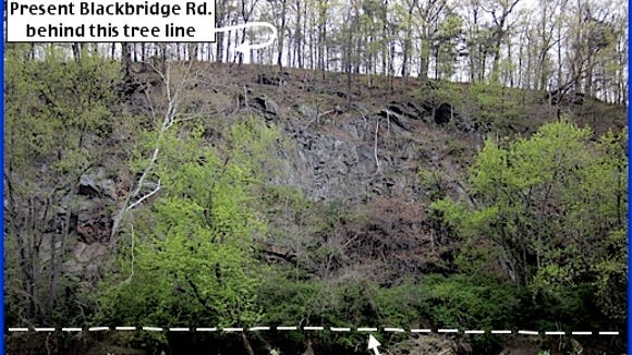 Cliffs along the Codorus Creek, just west of Black Bridge, in Manchester Township (2015 Photo and Annotation by S. H. Smith)
