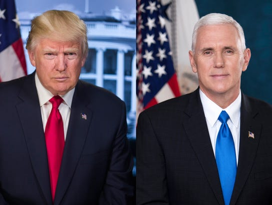 Official portraits of President Donald Trump and Vice