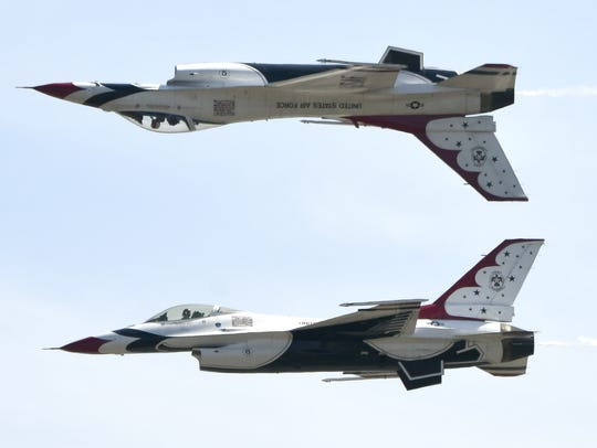 The USAF Thunderbirds perform Saturday during the Melbourne